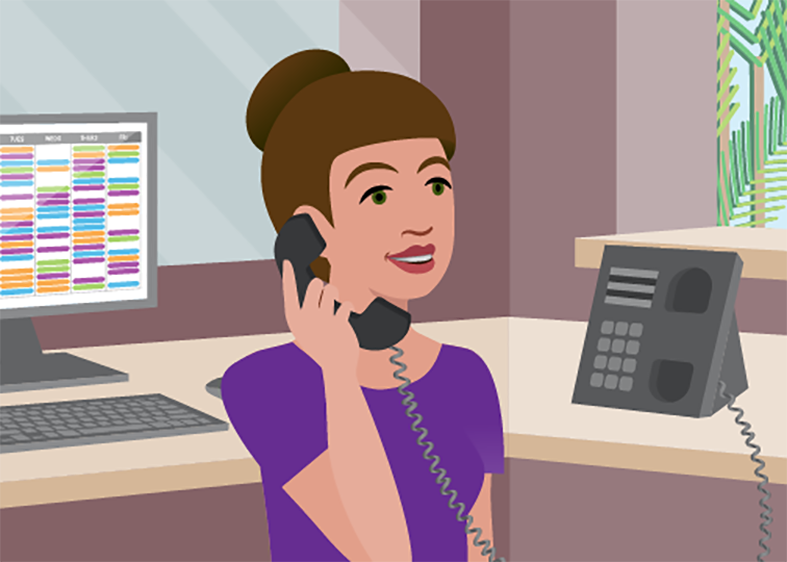 Illustration of a woman in an office on the phone