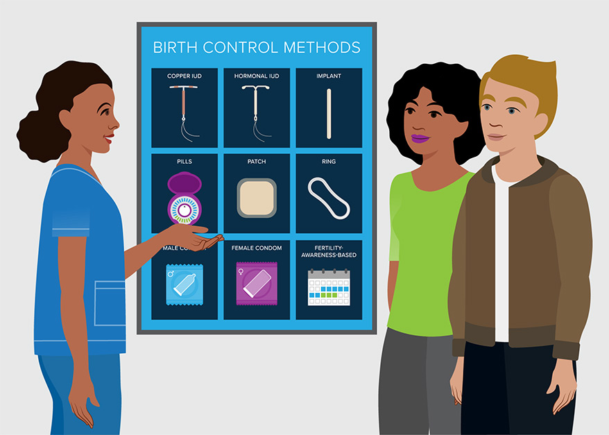 Illustration of couple meeting with doctor about birth control options.