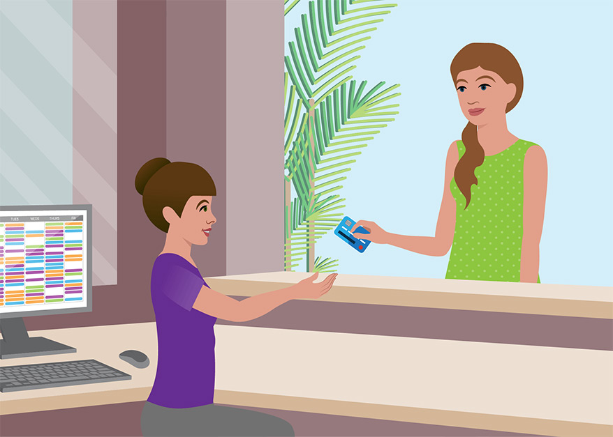 Illustration of a woman paying for her bill at a doctor's office.